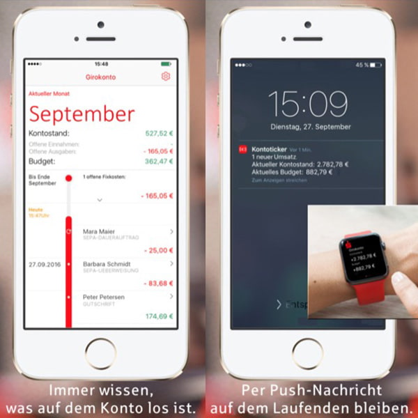 Sparkasse 1822 Kontoticker UX design push notification Apple Watch