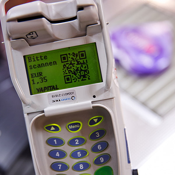 Yapital QR code terminal at REWE